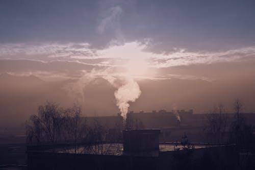 Gratis arkivbilde med damp, solnedgang