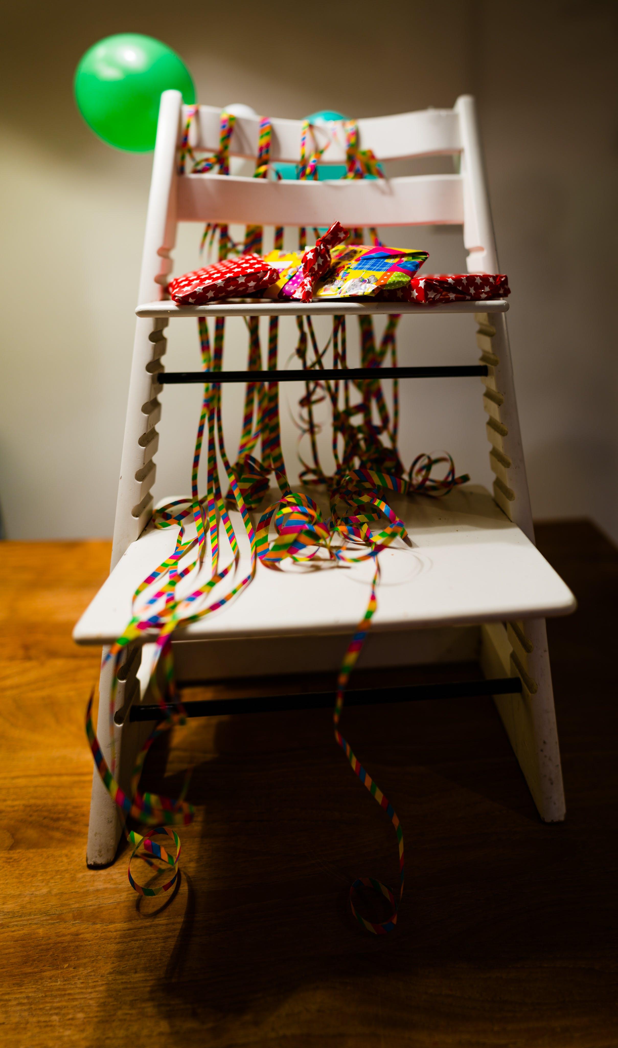 Free stock photo of balloon, chair, birthday, presents