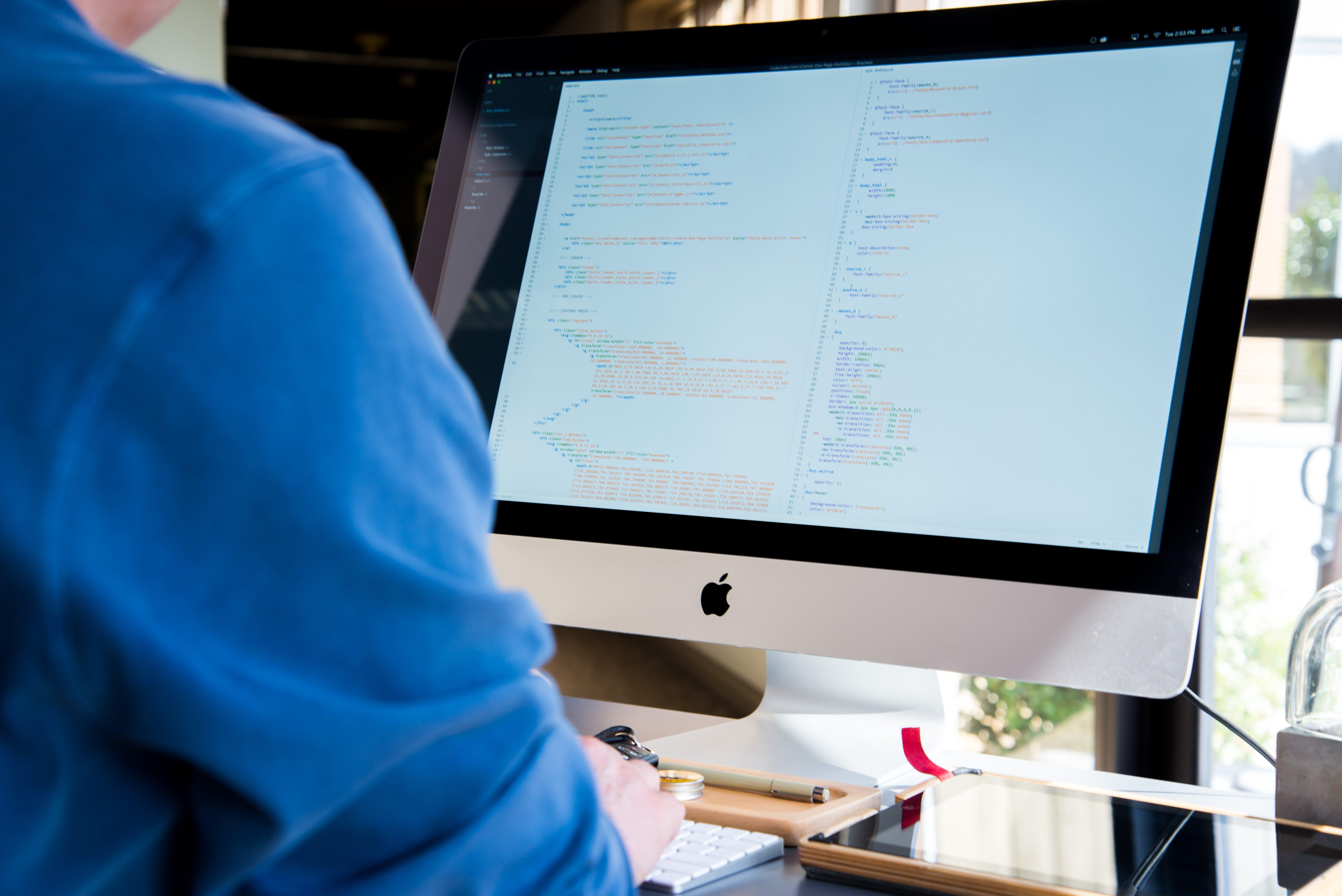 Kostnadsfri bild av äpple, bildskärm, imac, koda