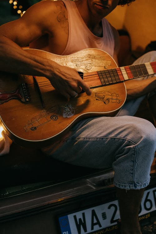 Free stock photo of 4 people, acoustic guitar, active life
