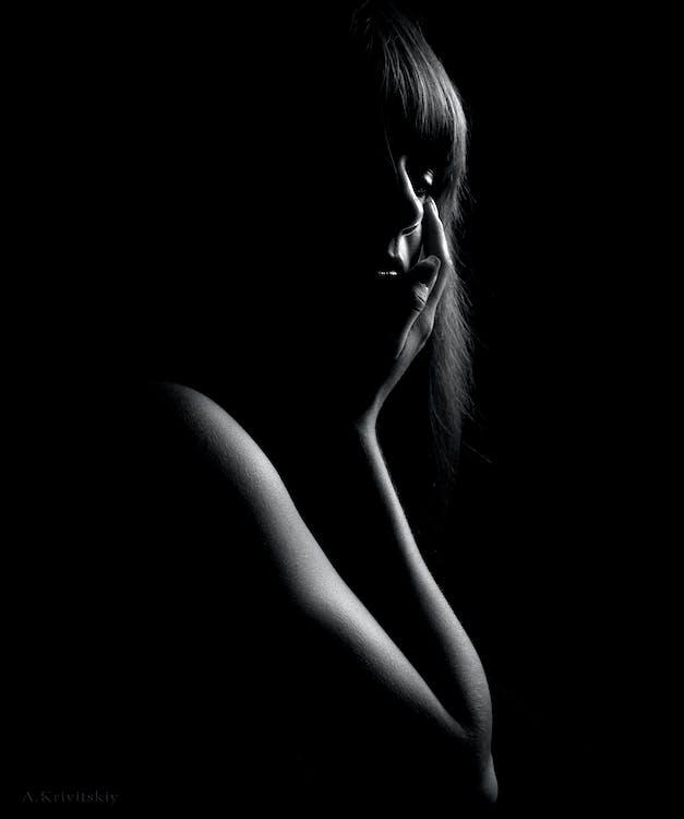 kvinna, mörk, person