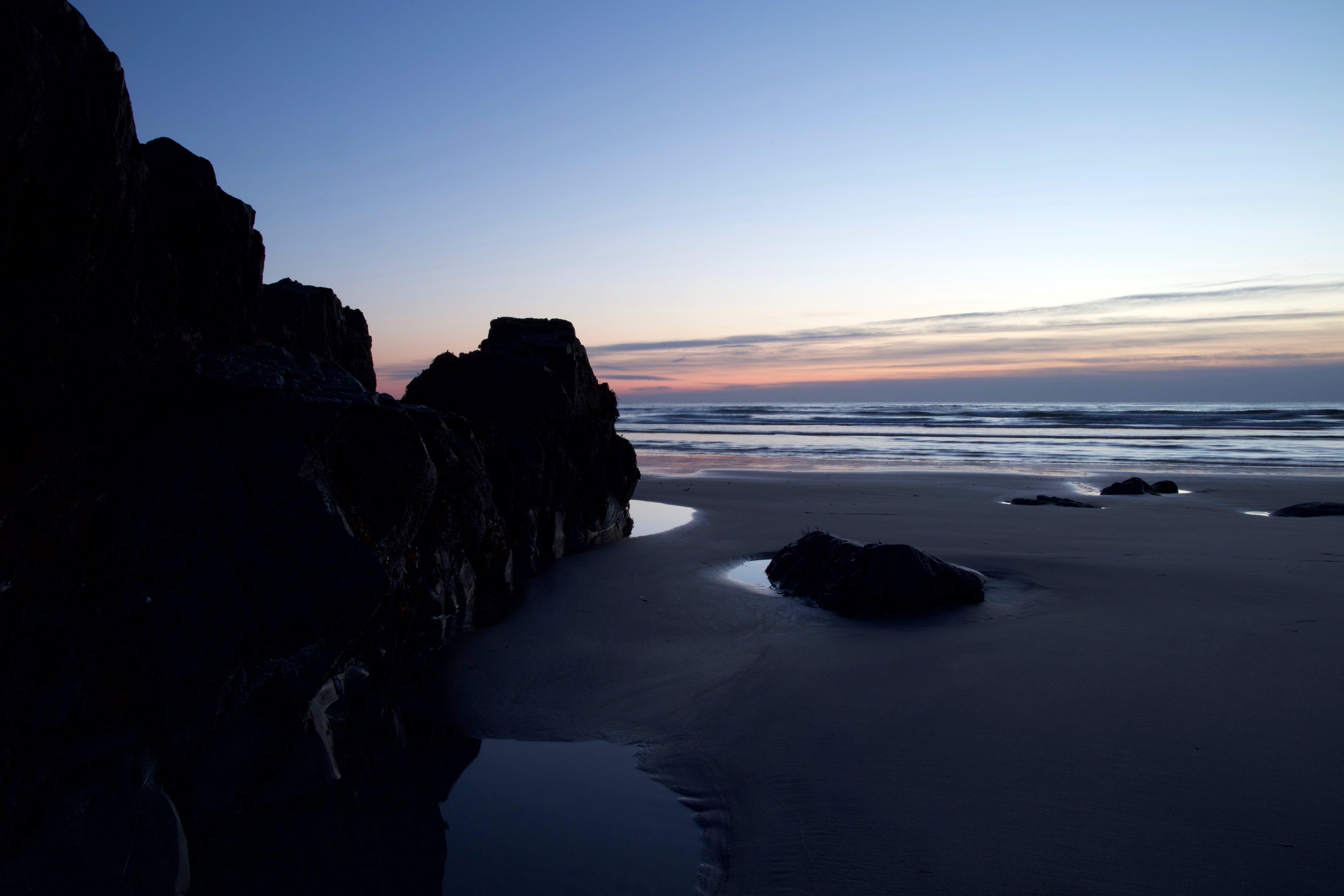 Black Rock Beside Seashore