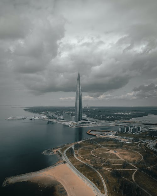 Aerial View of Tall Building in St Petersburg Russia
