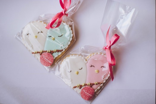 Two White-and-pink Heart Shaped Wrap in Clear Plastic Decors