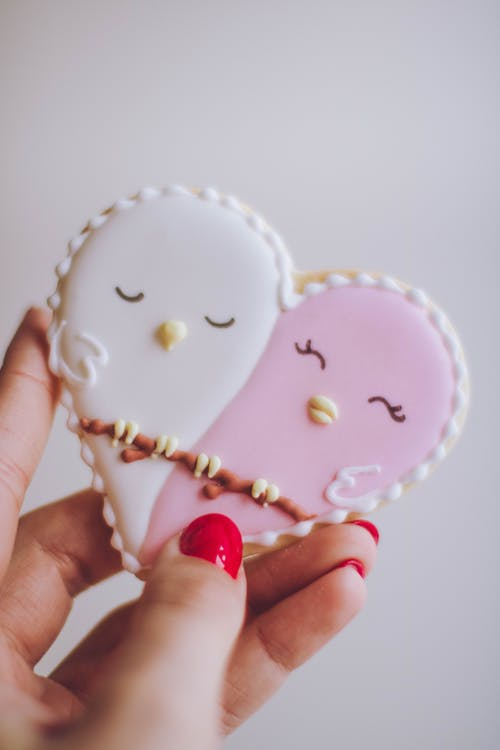 Person Holding White and Pink Birds Ornament