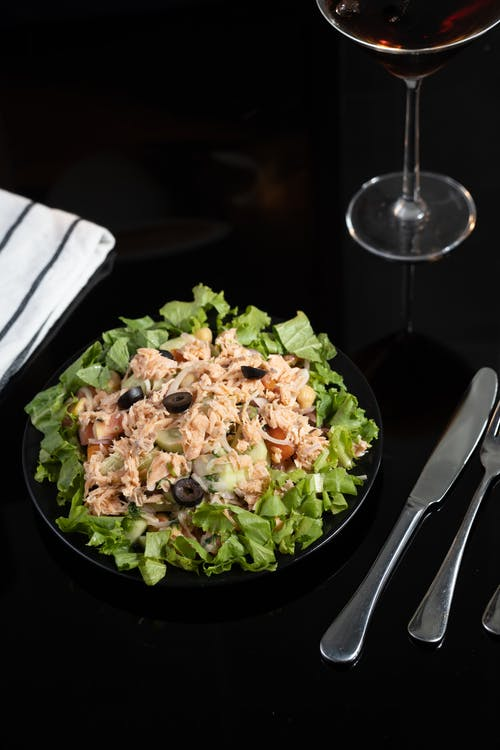 A Plate Of Vegetable and Tuna Salad