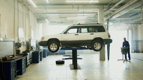 Car on Lift at  Auto the Repair Shop