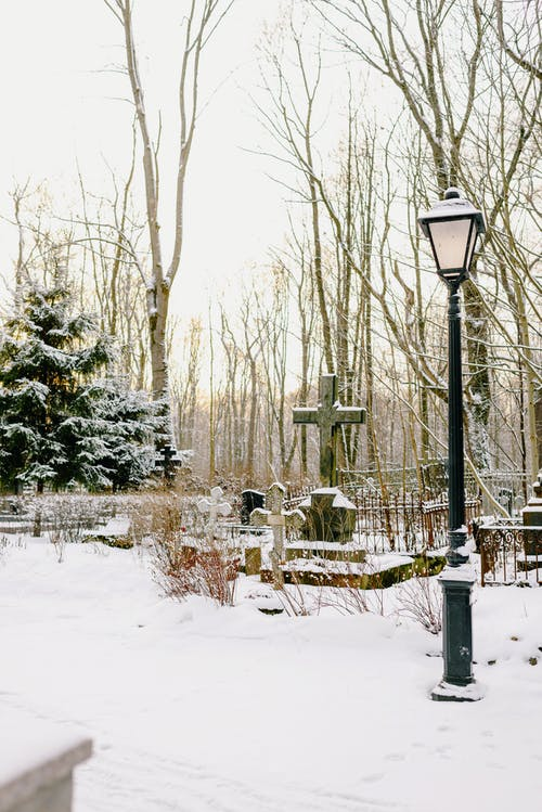 A Snow Covered Cemetery in Winter
