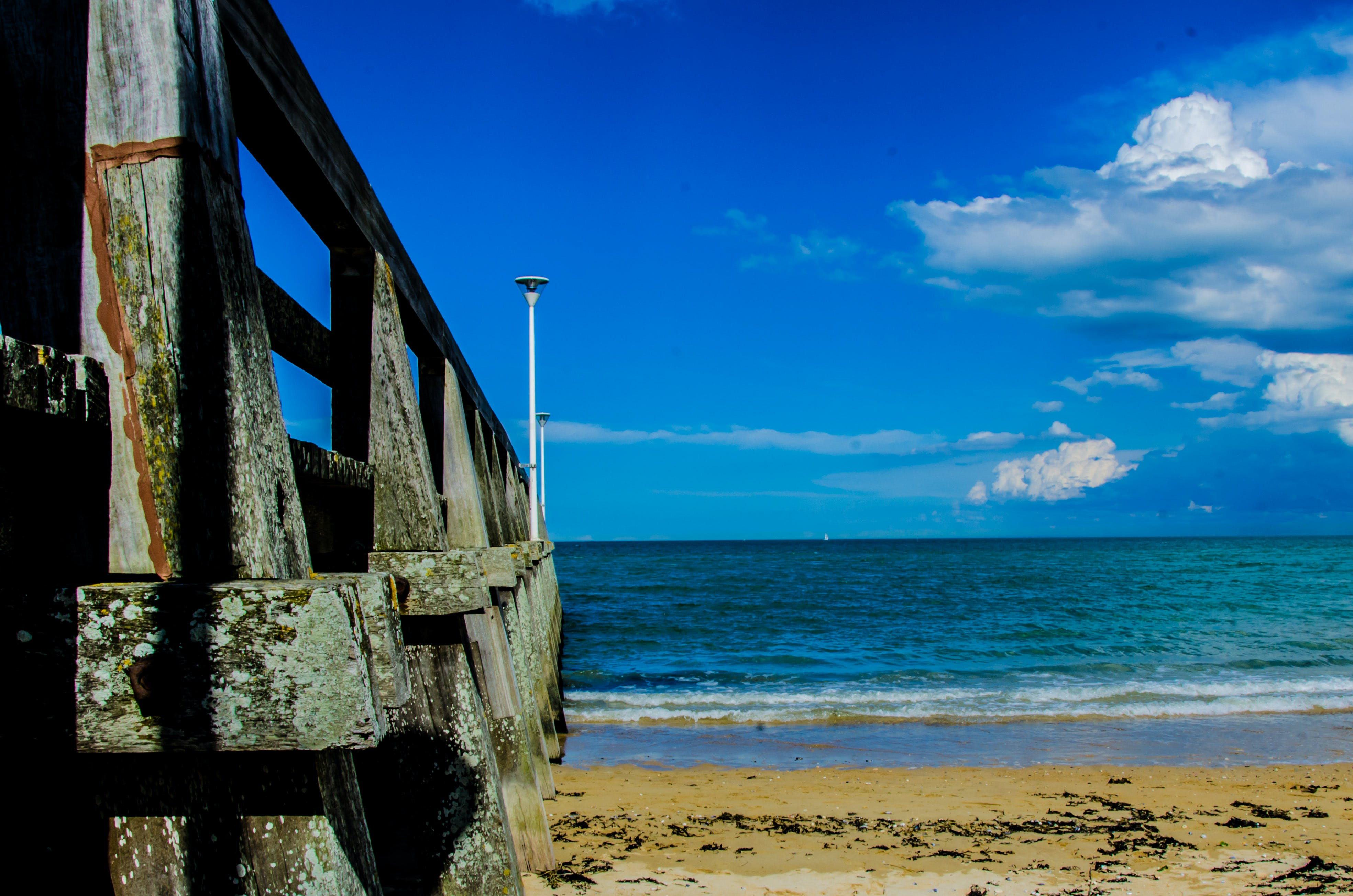 Brown Wooden Bar Near Sea Shore Under Blue Sky during Day Time