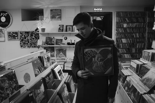 A Man Looking For Vintage Vinyl Records
