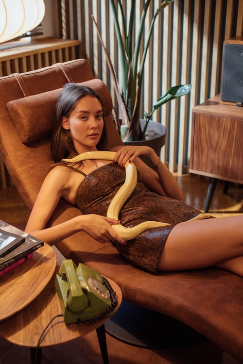 A Woman in a Snake Skin Fabric Dress Petting a Python