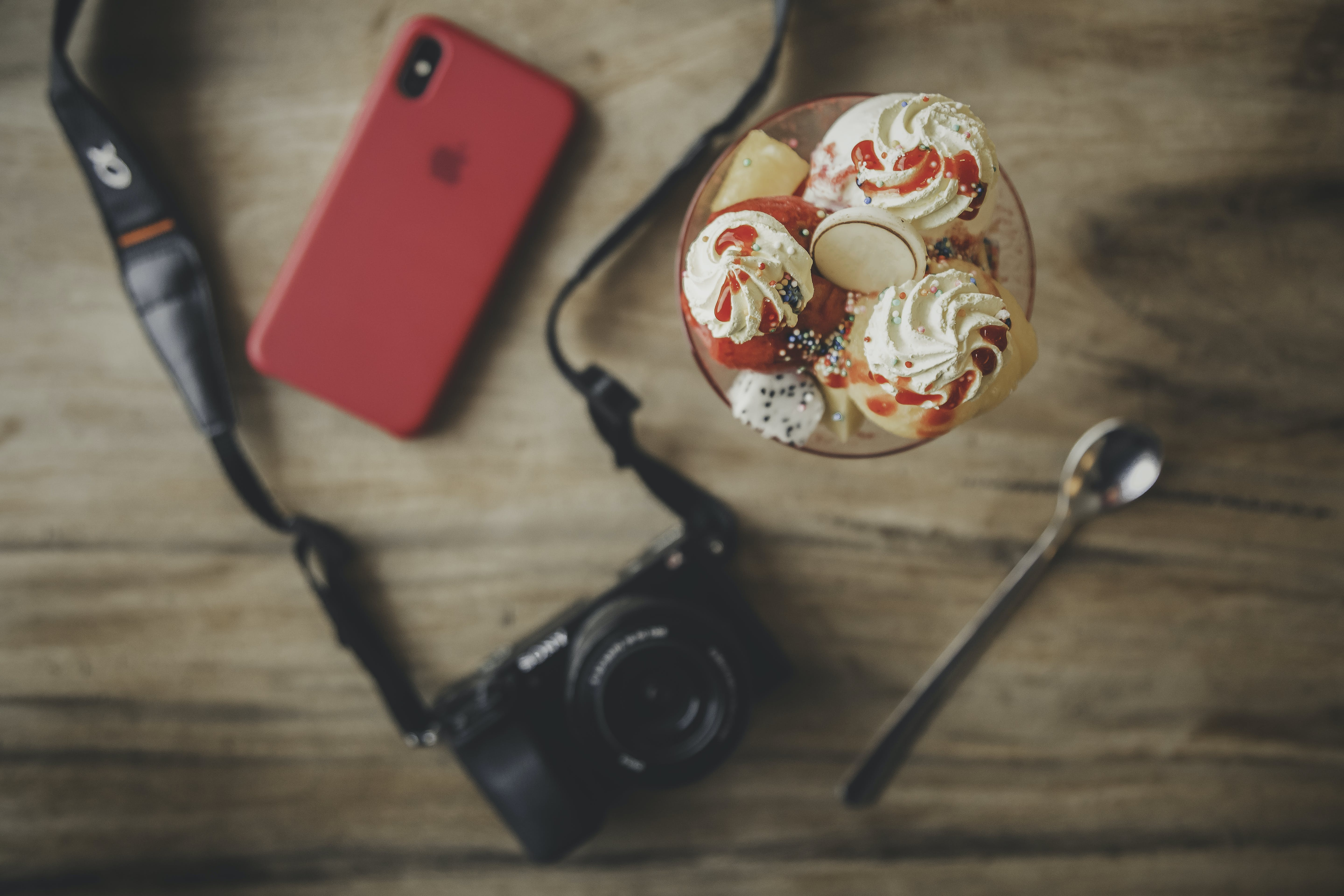 Black Dslr Camera, Teaspoon, Ice Cream and Iphone X
