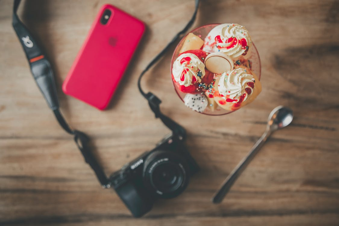 Black Dslr Camera, Teaspoon, Ice Cream and Iphone X
