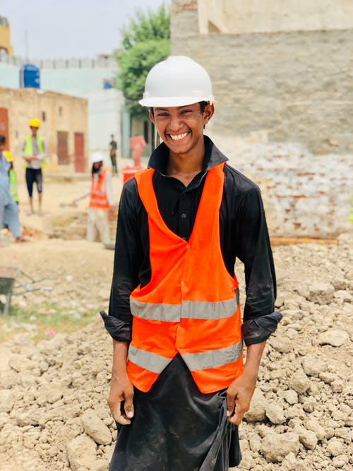 A Young Man Working in Construction