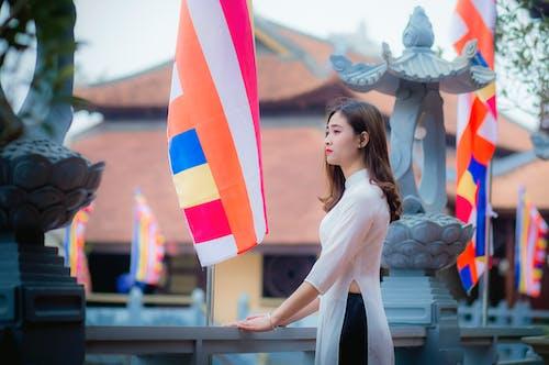 Gratis lagerfoto af dagtimer, flag, kvinde, landskab