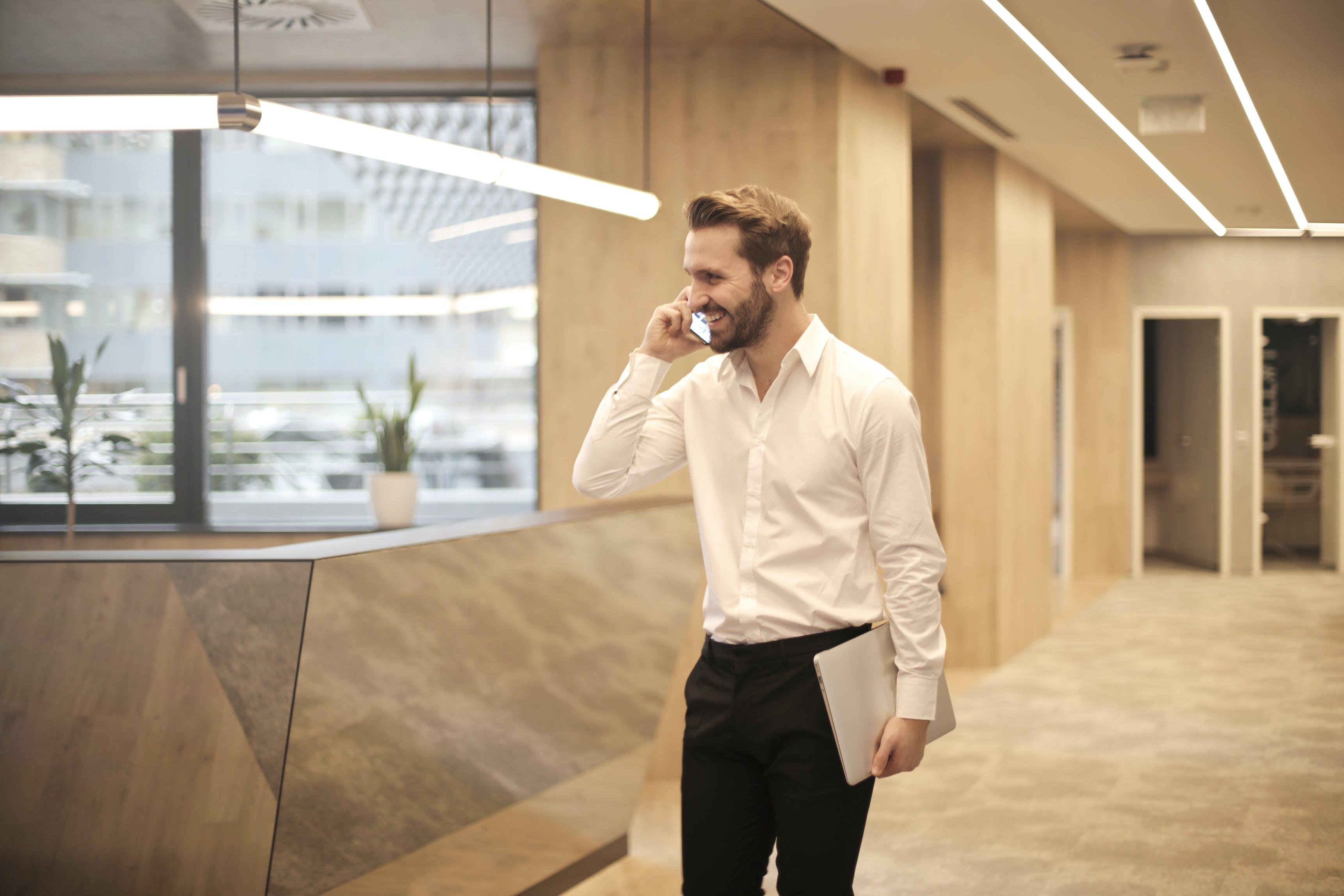 of beard, business, businessman, call