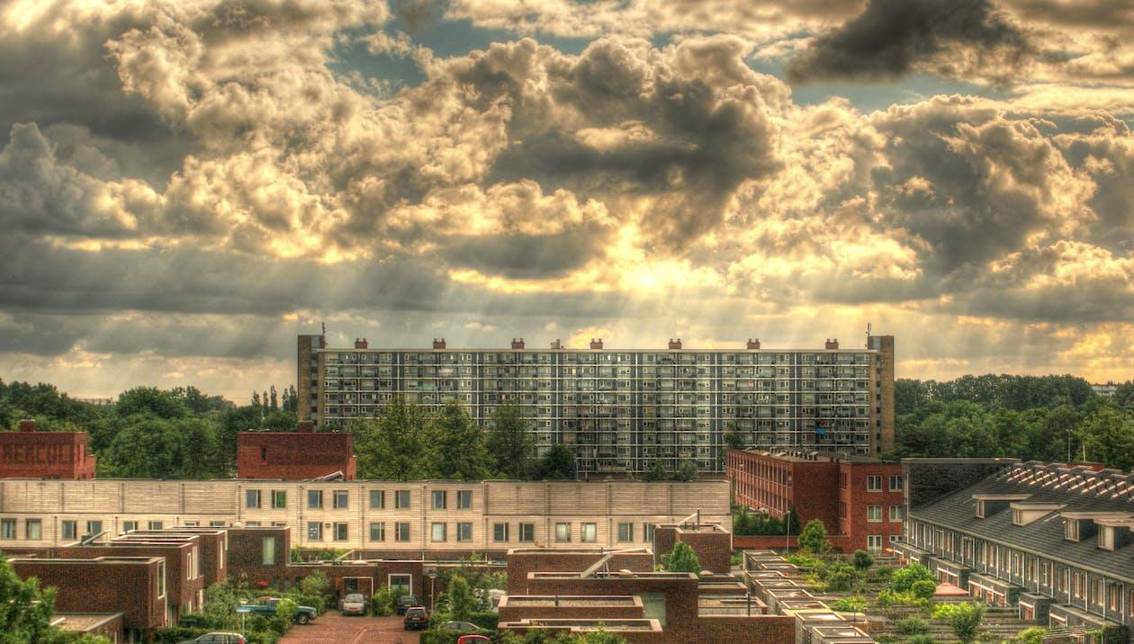 ciudad, hdr, nubes