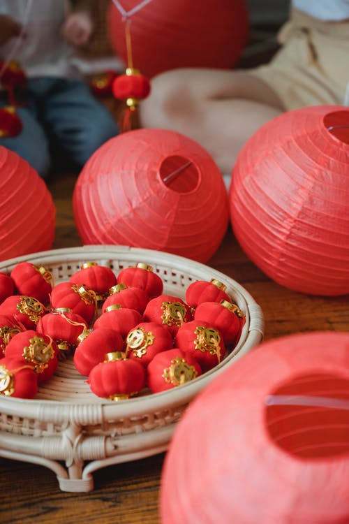Red Small Lanterns in the Bamboo Tray