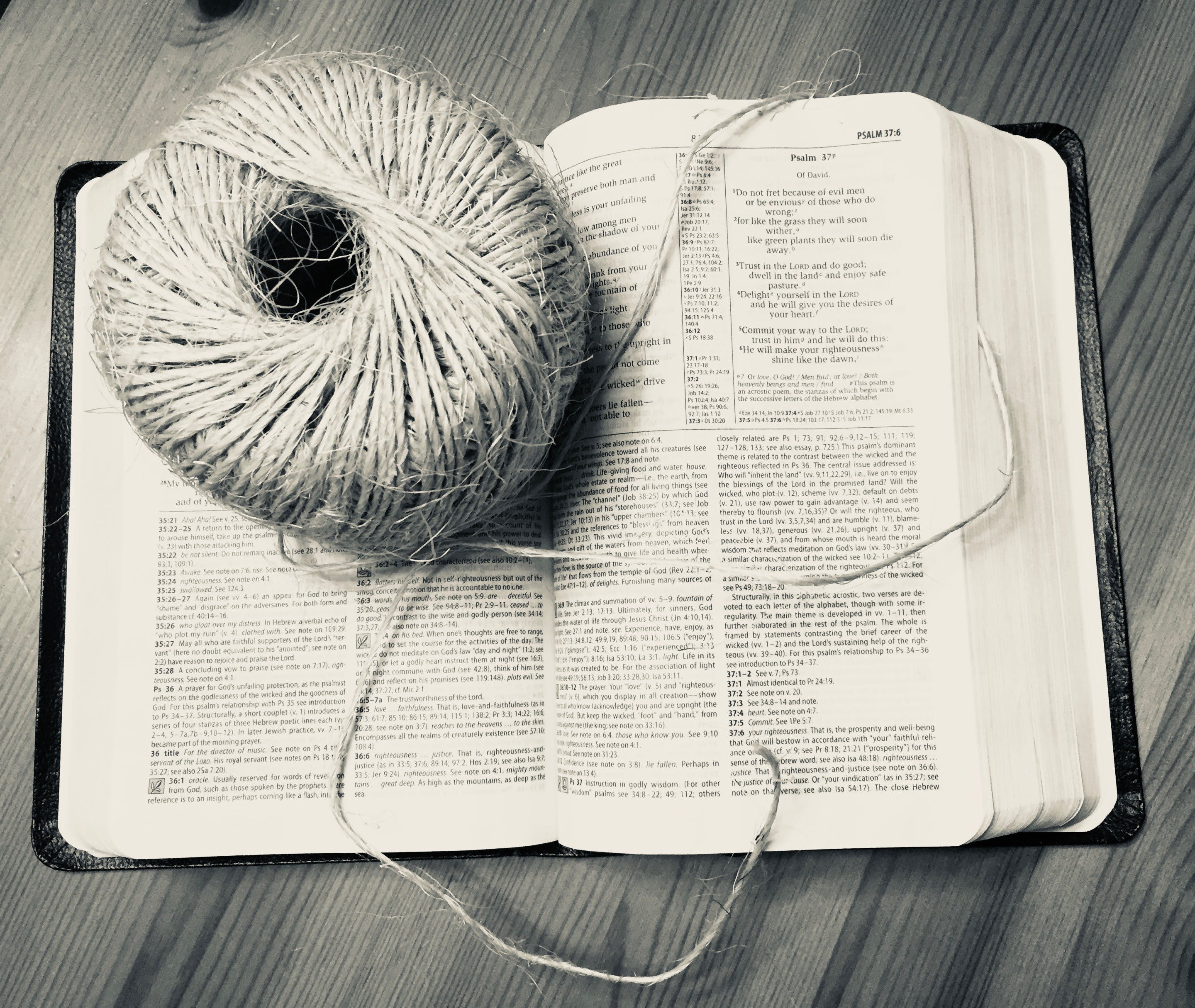 Free stock photo of bible, ball of twine and Bible, long string, ball of twine