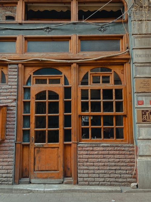Brown Wooden Door with Clear Glass