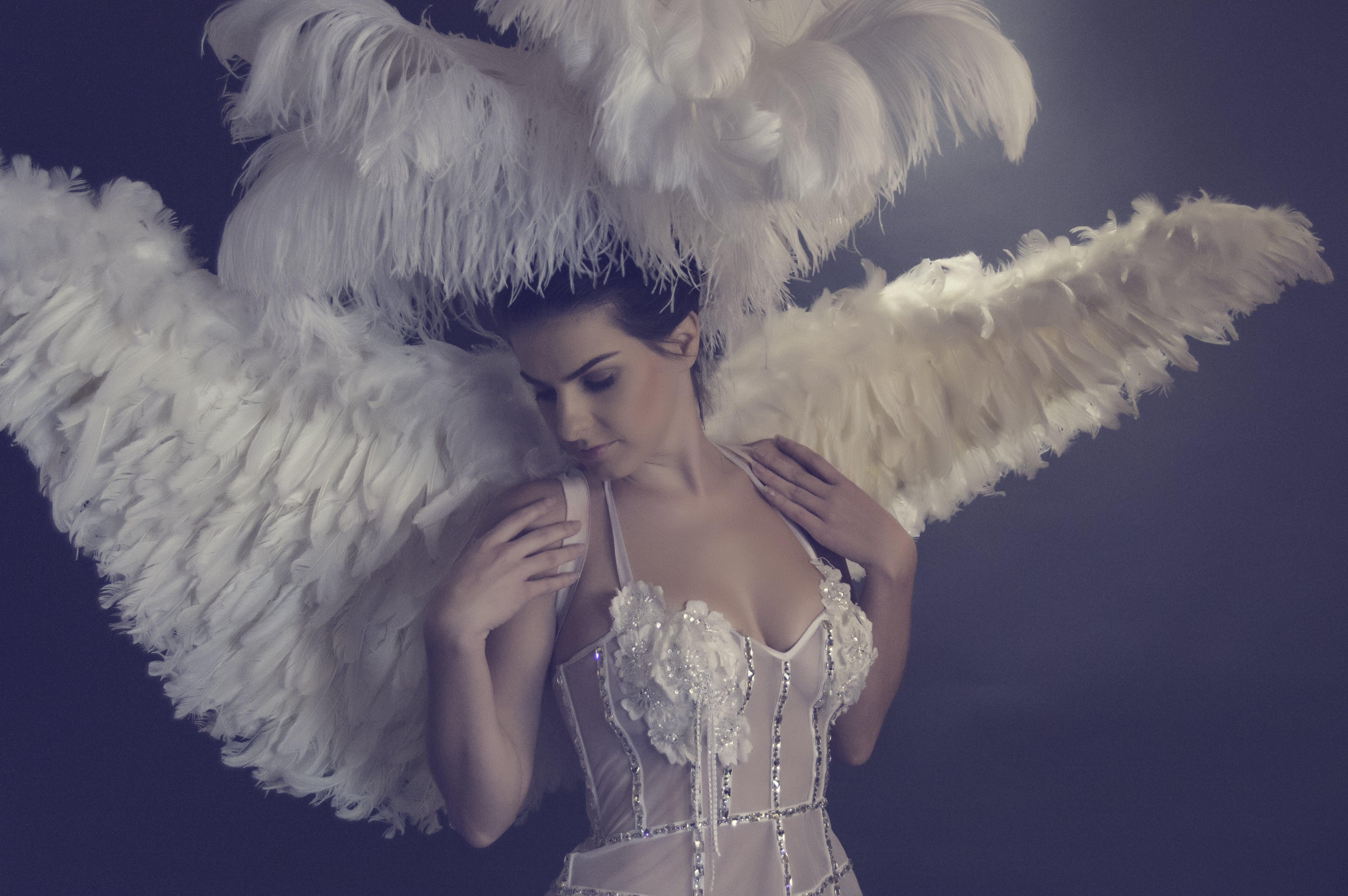 Woman Wearing White Angel Costume