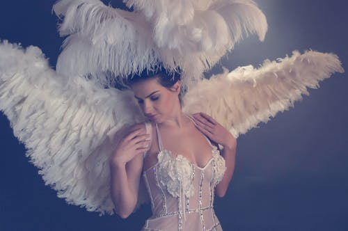 Woman Wearing White Angel Costume