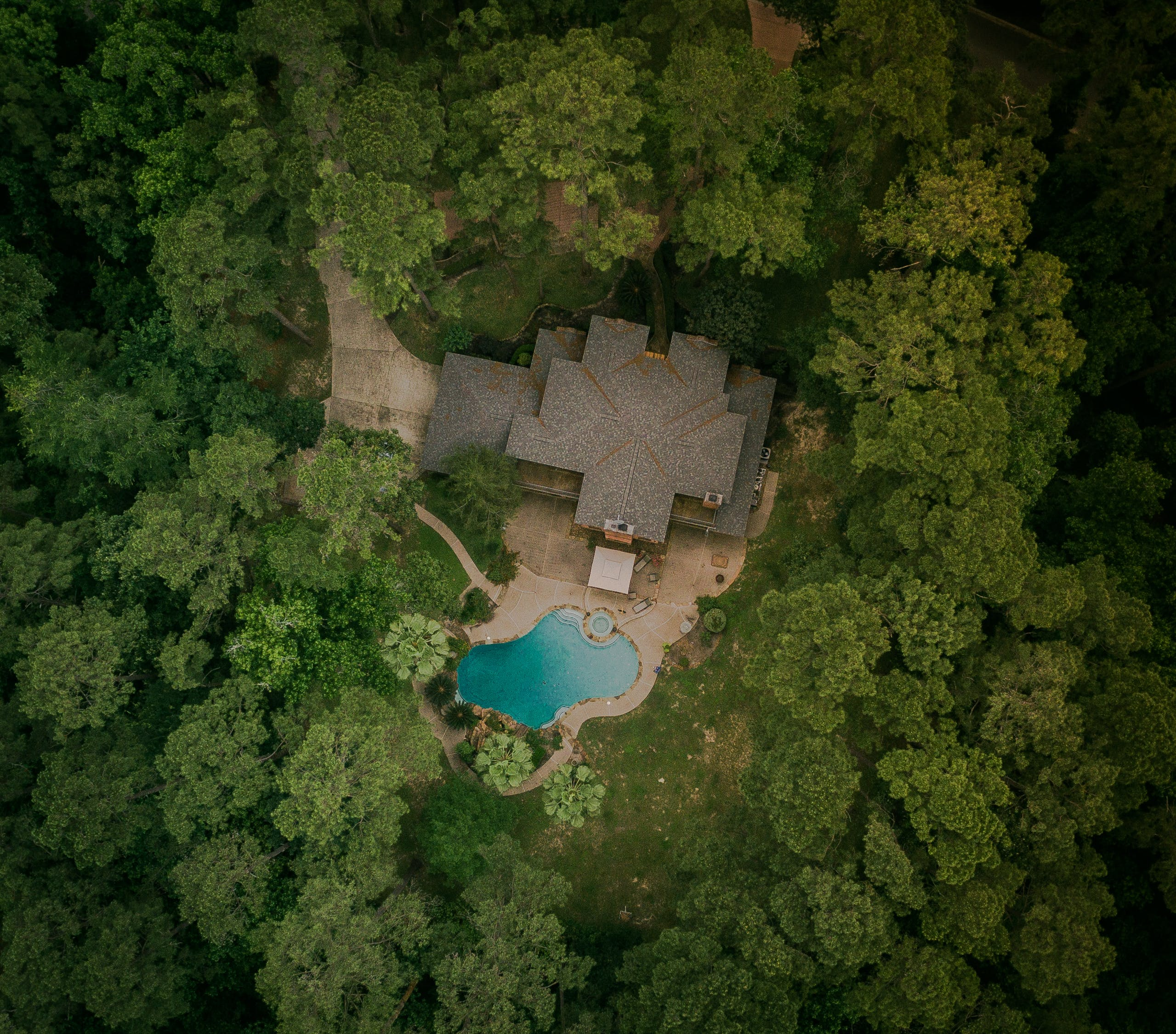 Aerial View Photography of House With Swimming Pool