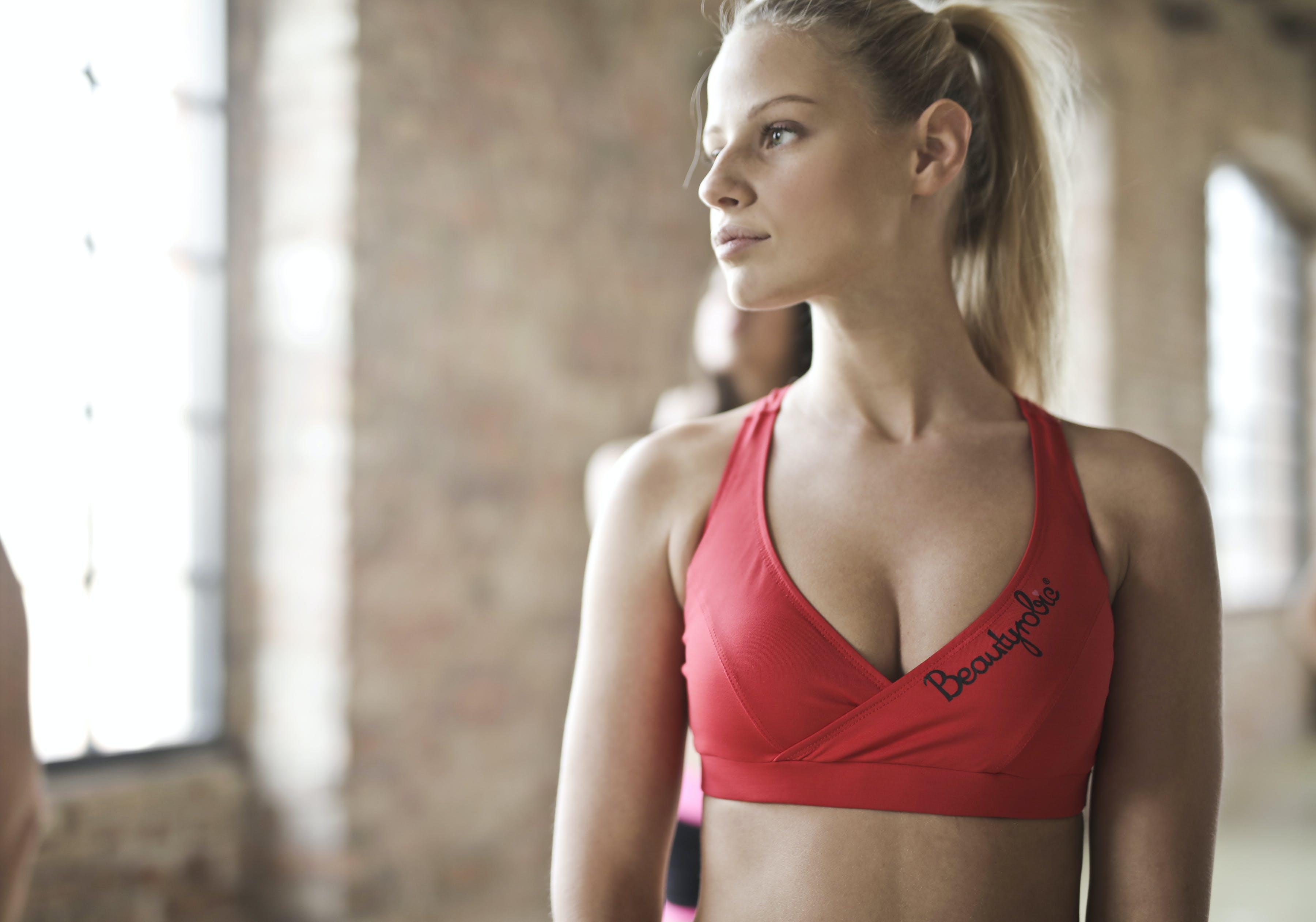 aerobics, aktiv, blond hår