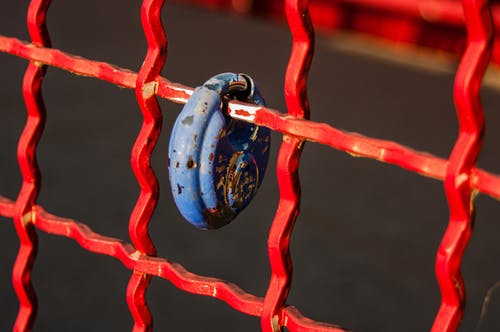 Free stock photo of blue, fence, lock, locked