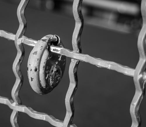 Free stock photo of black and white, black and-white, fence, lock