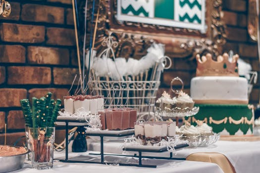 Green and White Themed Dessert Table