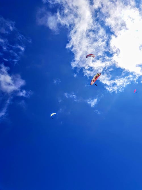 People Riding on Orange Parachute Under Blue Sky