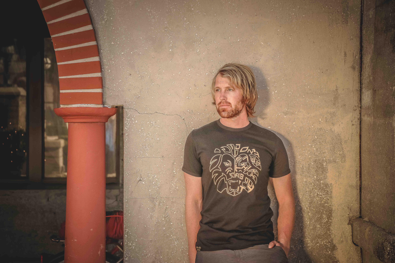 Man Wearing Gray Crew-neck T-shirt