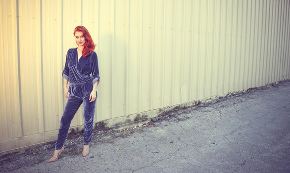 Women's Blue V-neck Jumpsuit