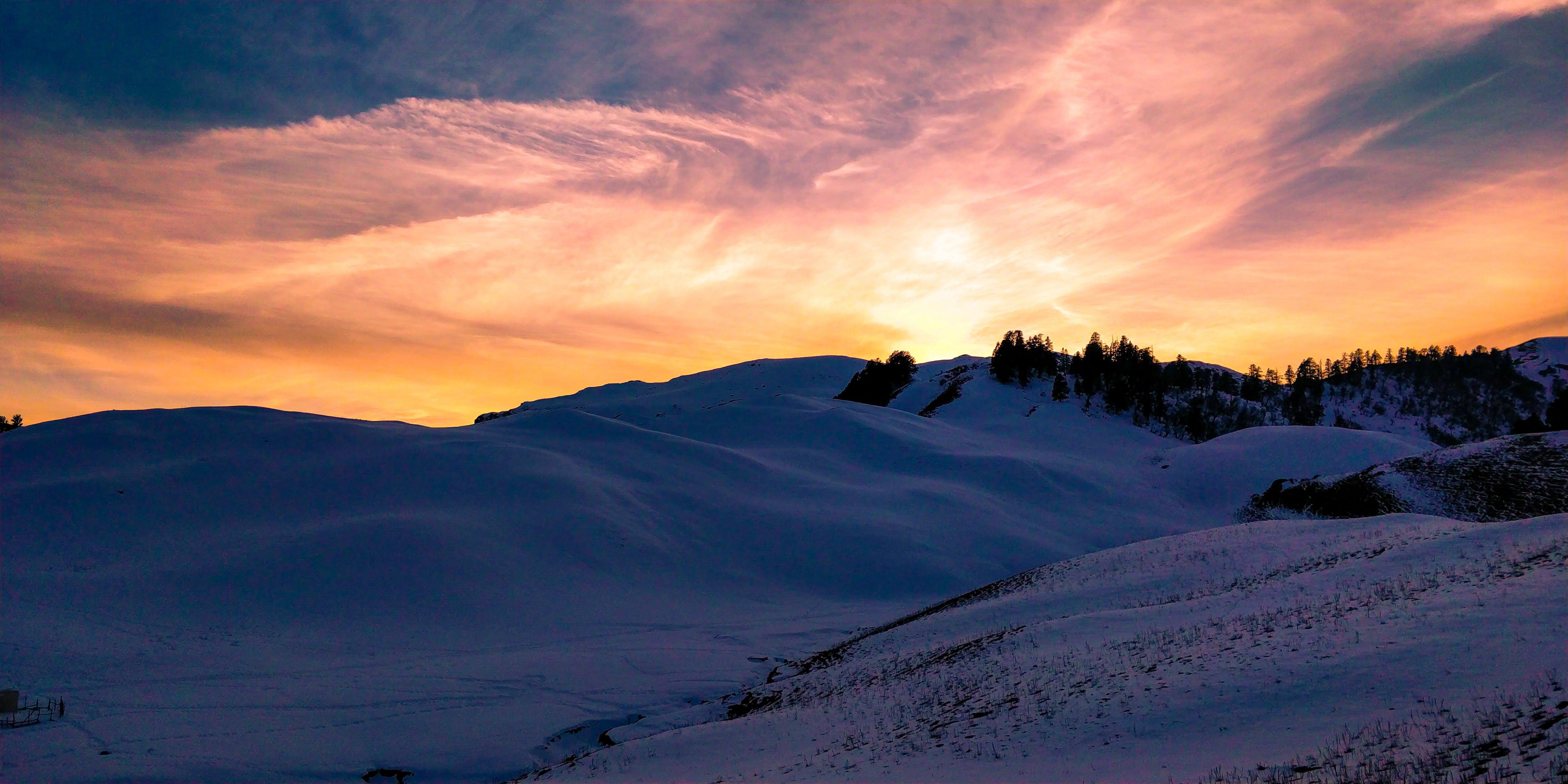 White Snowy Desert during Sunset