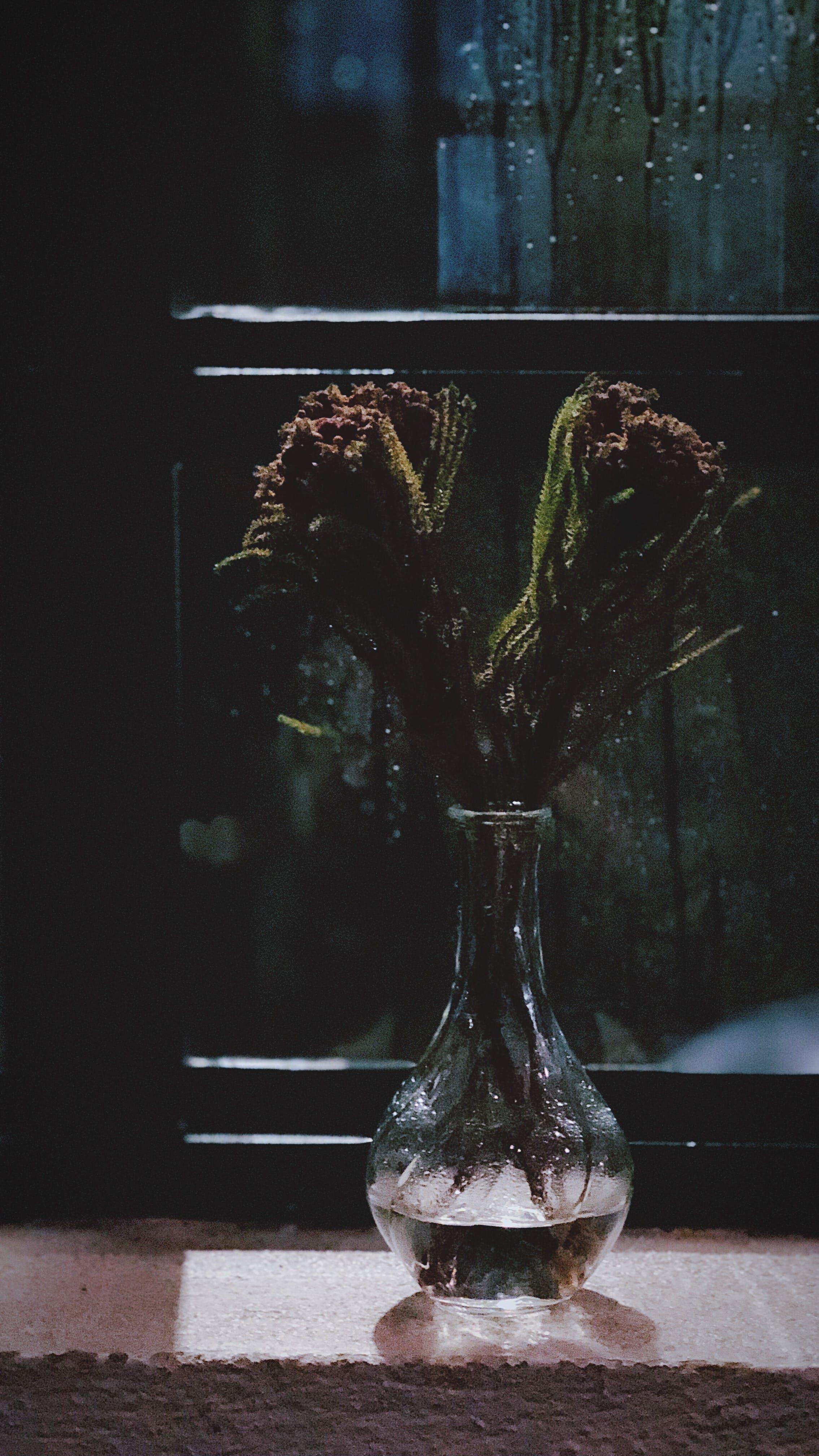 Clear Glass Vase Near Window