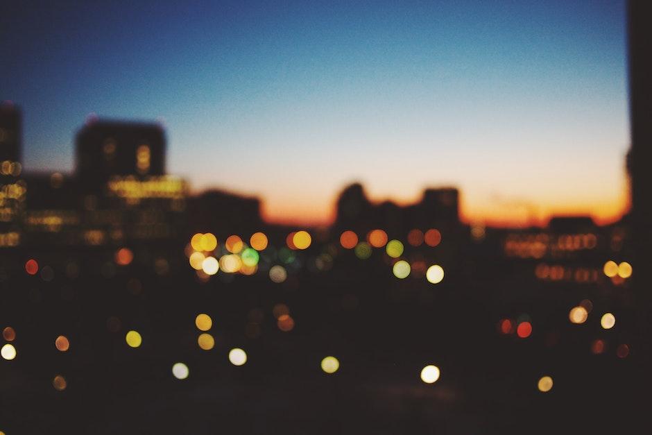 bokeh, city, dark