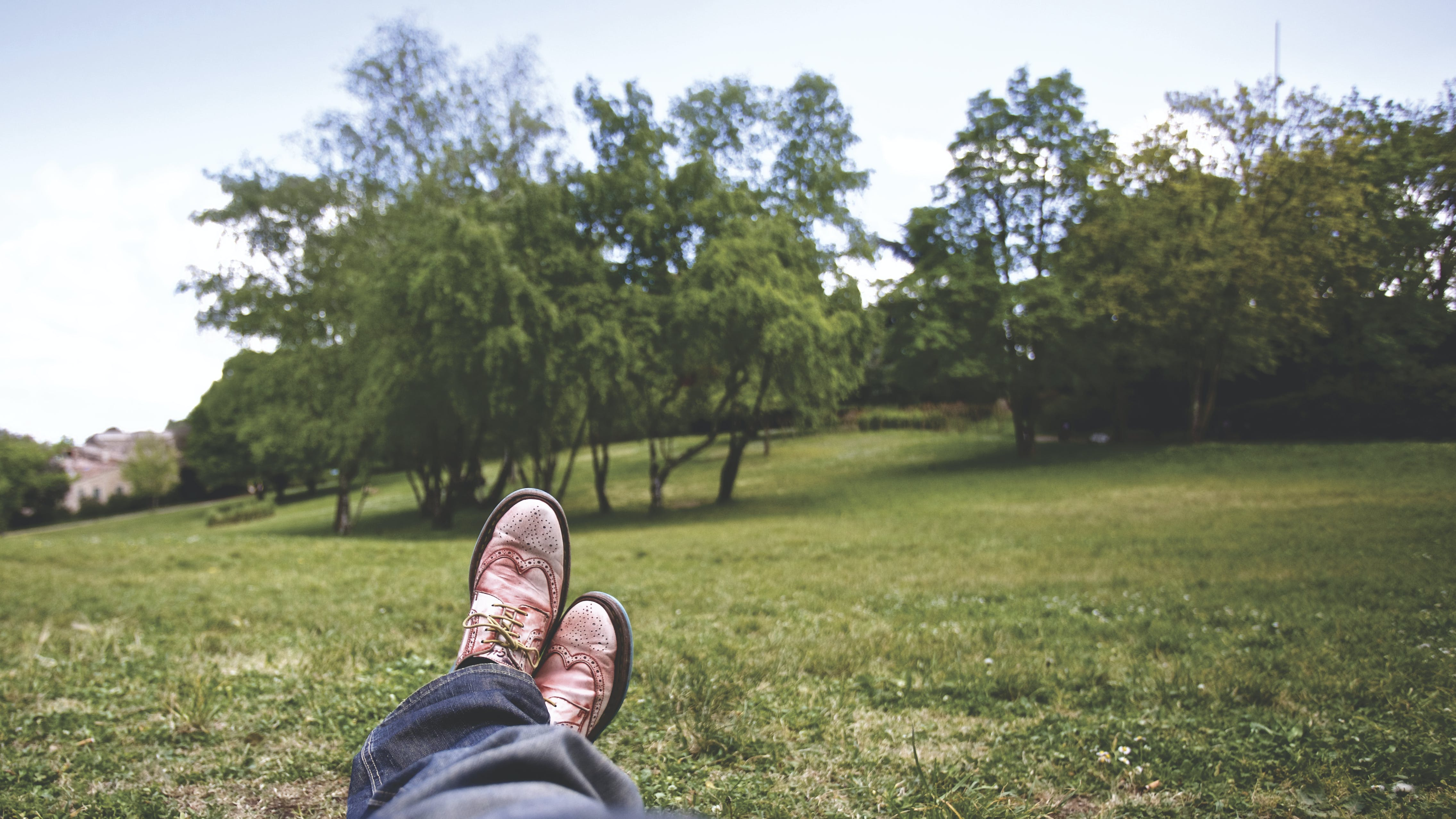 Person Lying on Grass Field Near Trees Under White Clouds during Daytime