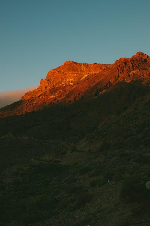 Brown Rocky Mountain Under Blue Sky