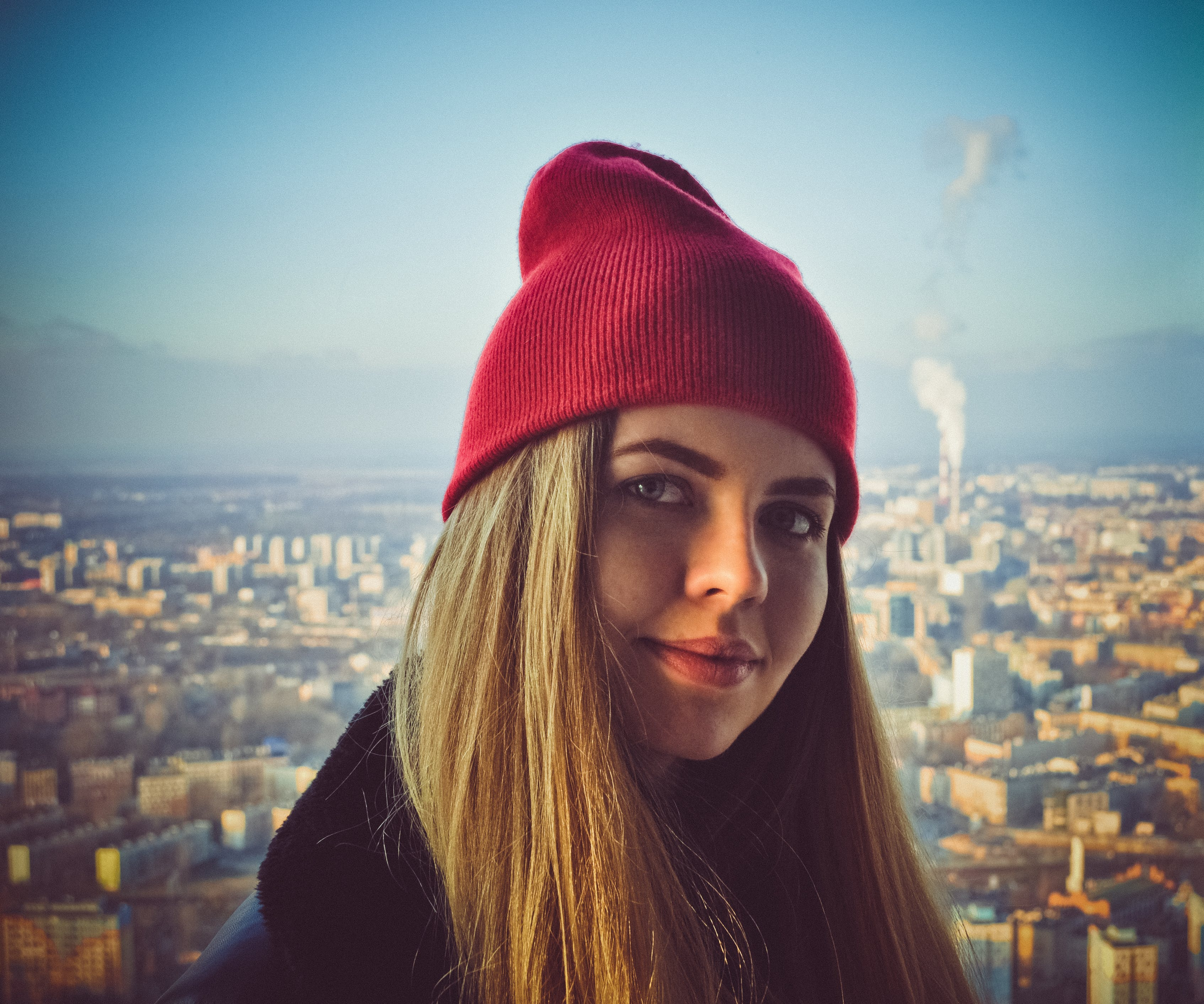Woman Wearing Red Beanie
