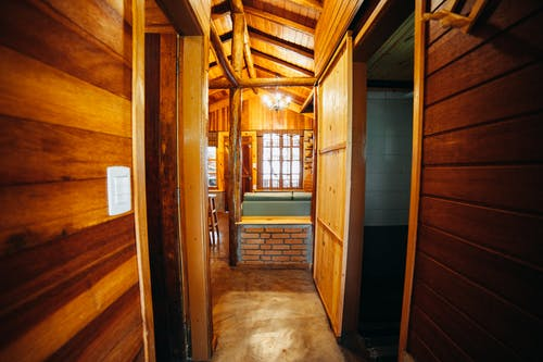 Wooden Hallway and Wooden Doors of a Cabin
