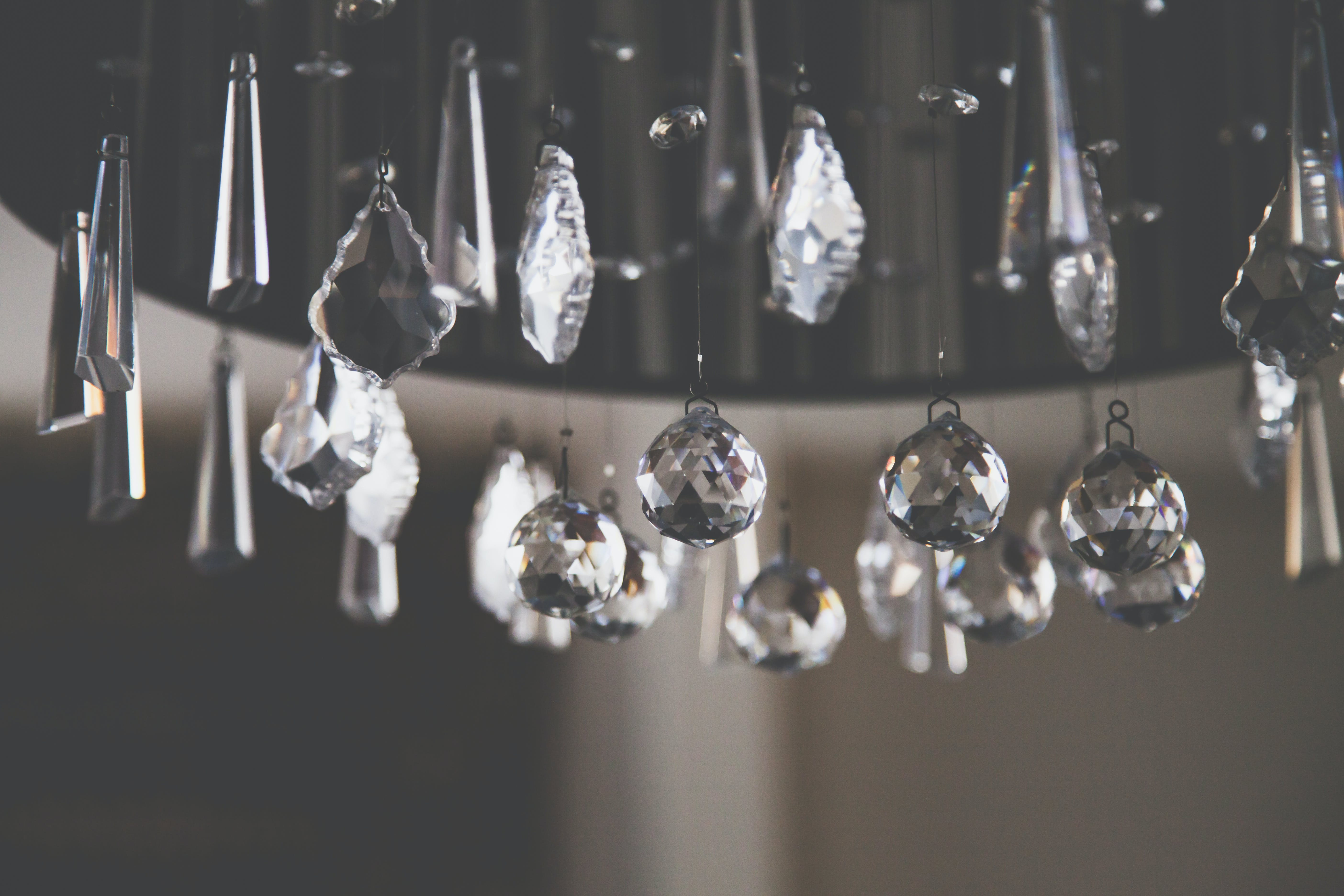 Closeup Photo of Clear Cut Glass Chandelier