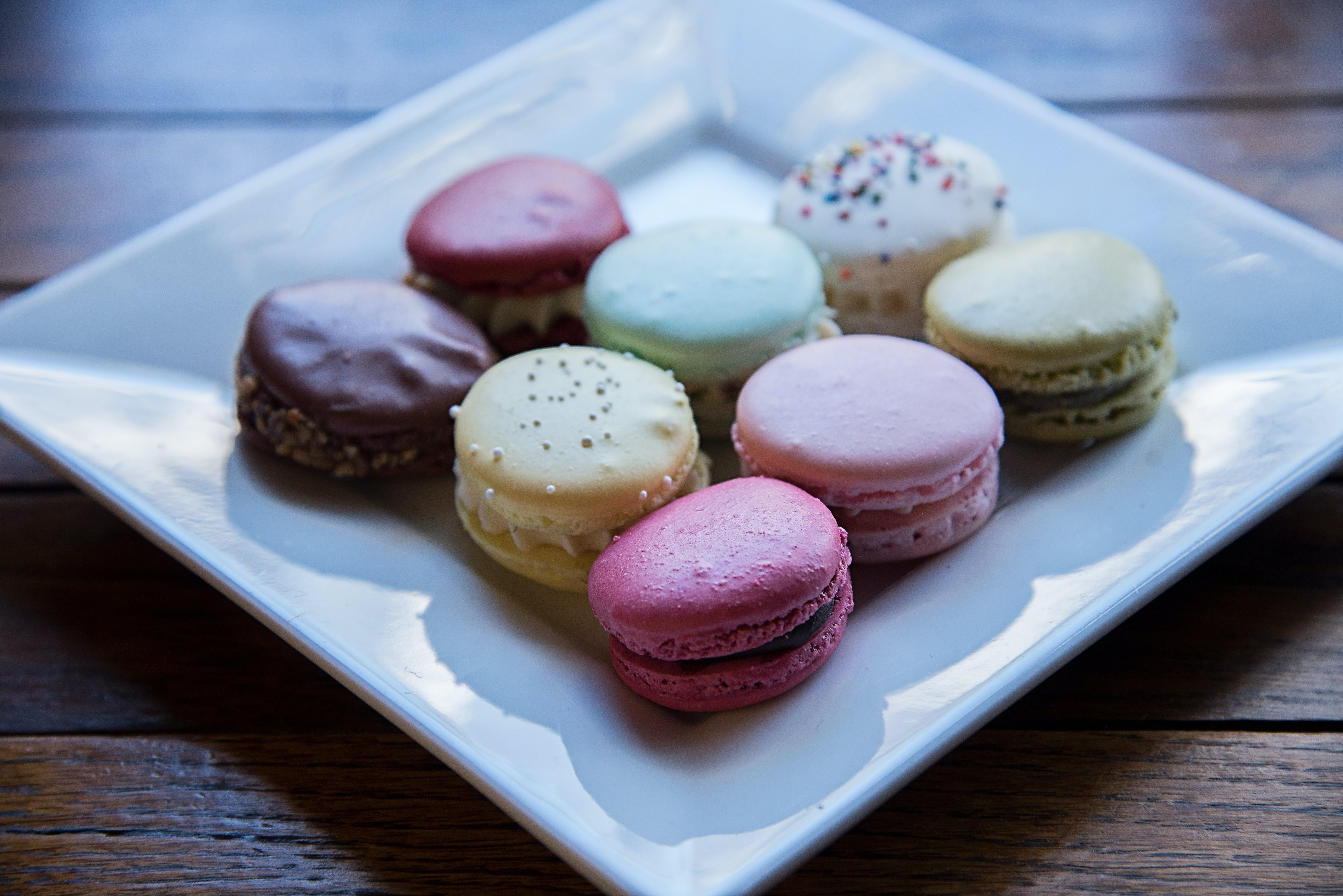 Macaroons Served on White Ceramic Plate