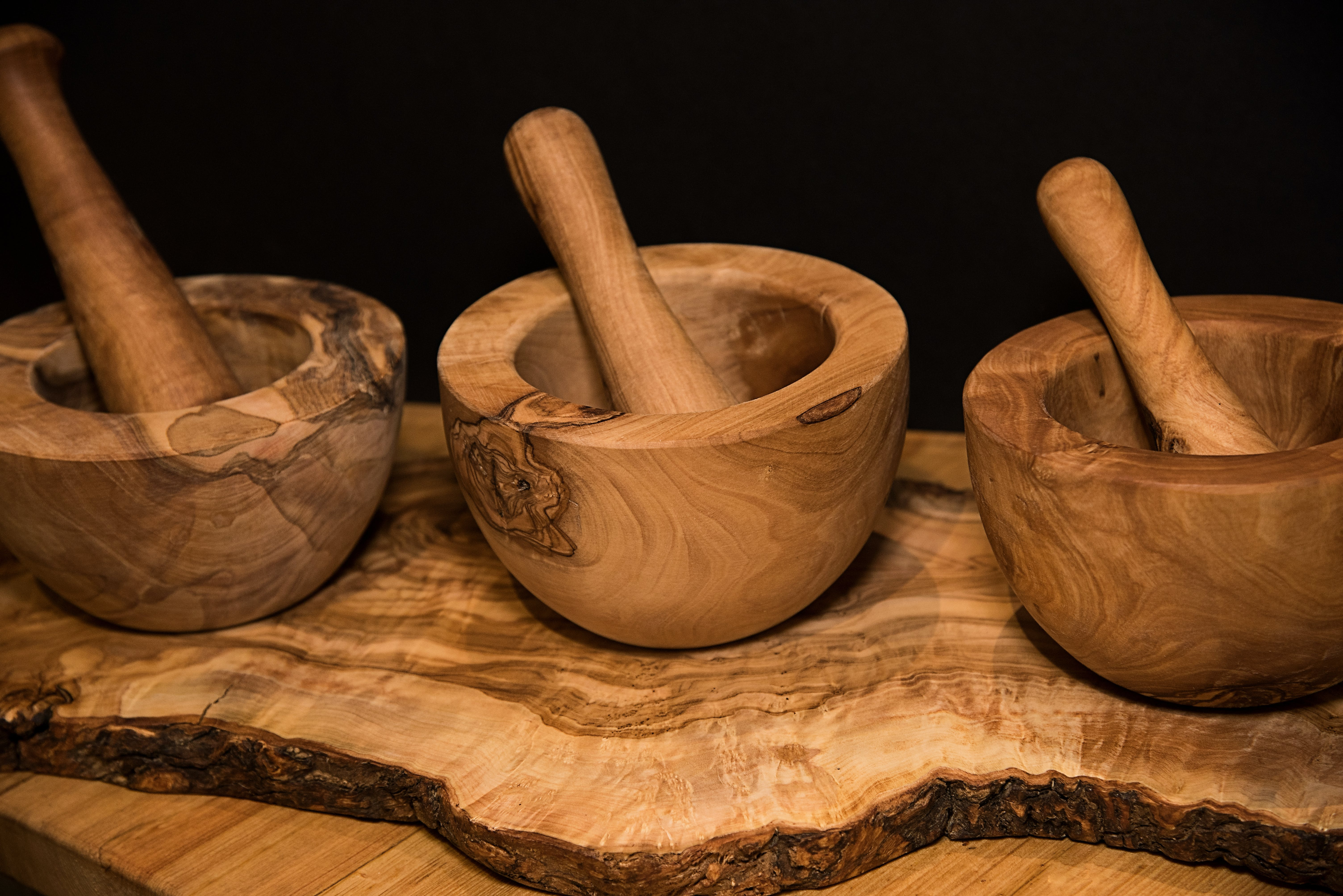 Free stock photo of Fine Dining, handmade, mortar and pestle, olive wood