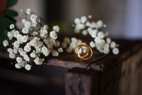 Gold Ring Bands and White Flowers Laid on a Wooden Stand
