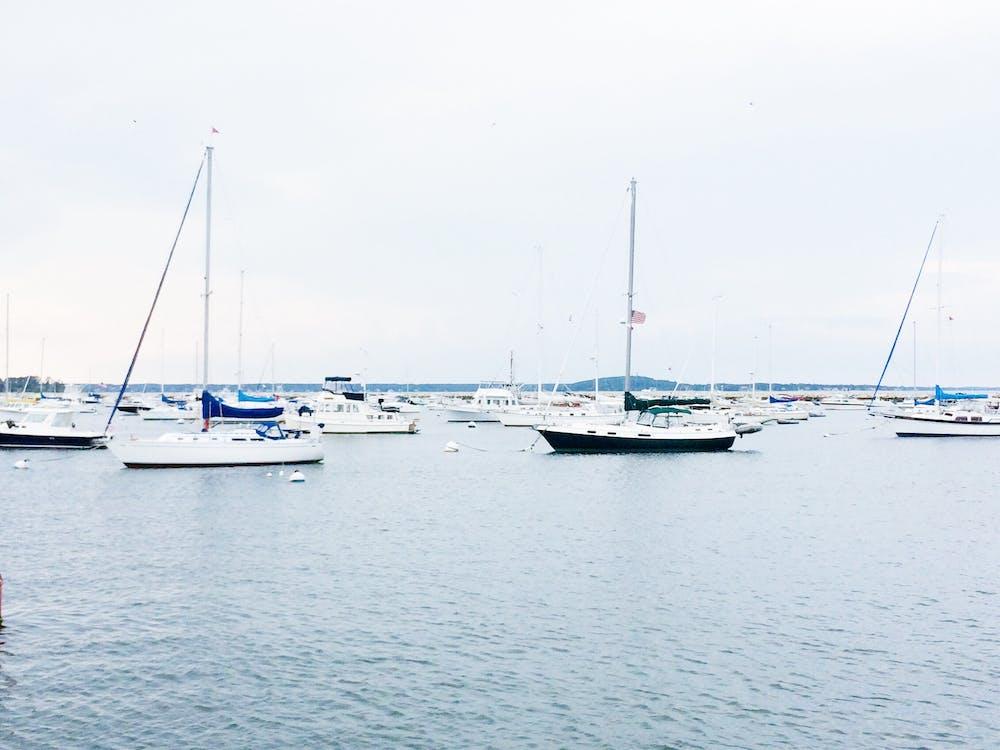 bateaux, ciel, eau