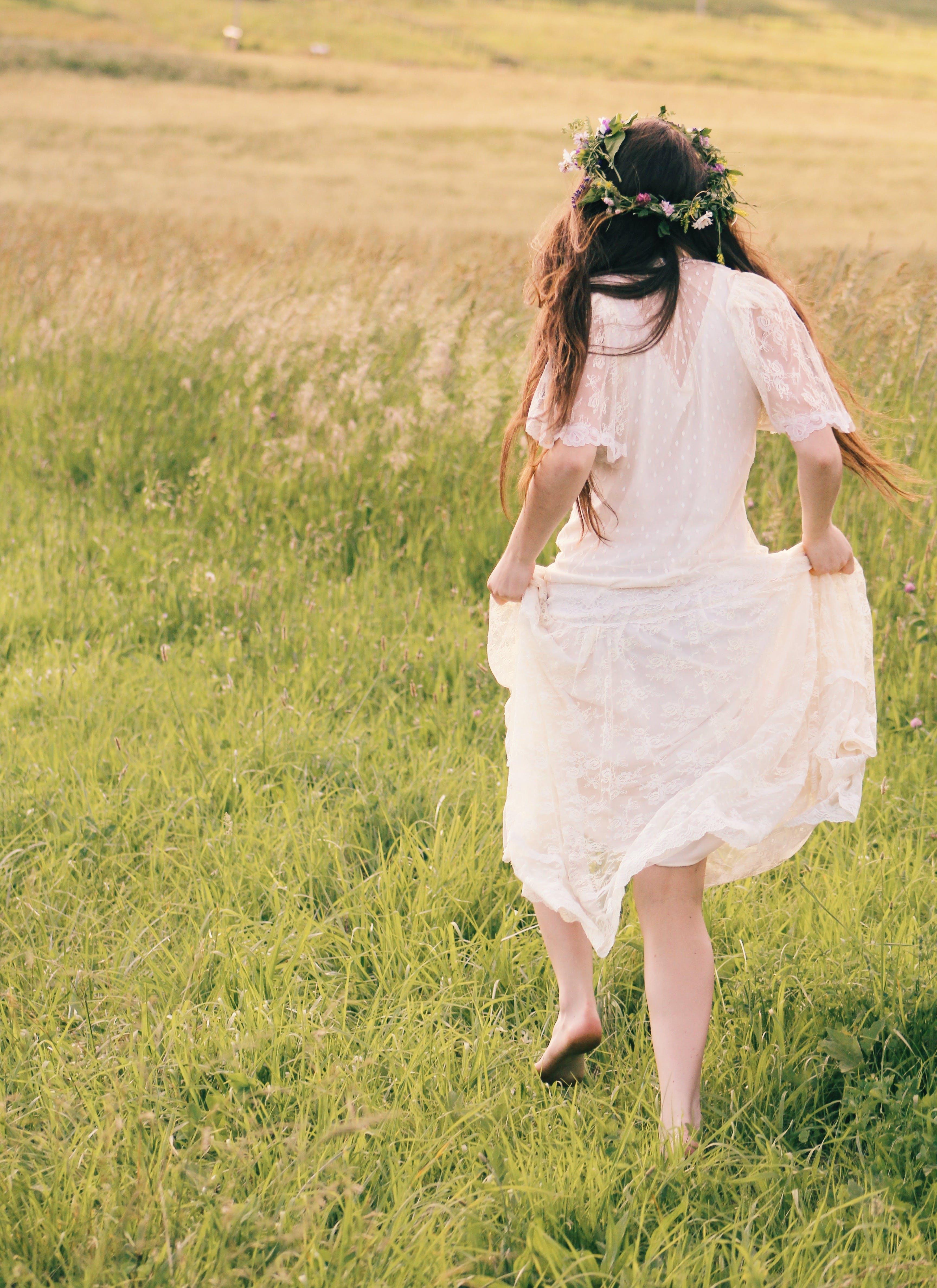 Woman Wearing White Floral Dress