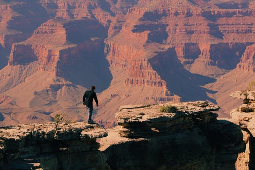Bird's Eye-view of a Man on Grand Canyon Mountain