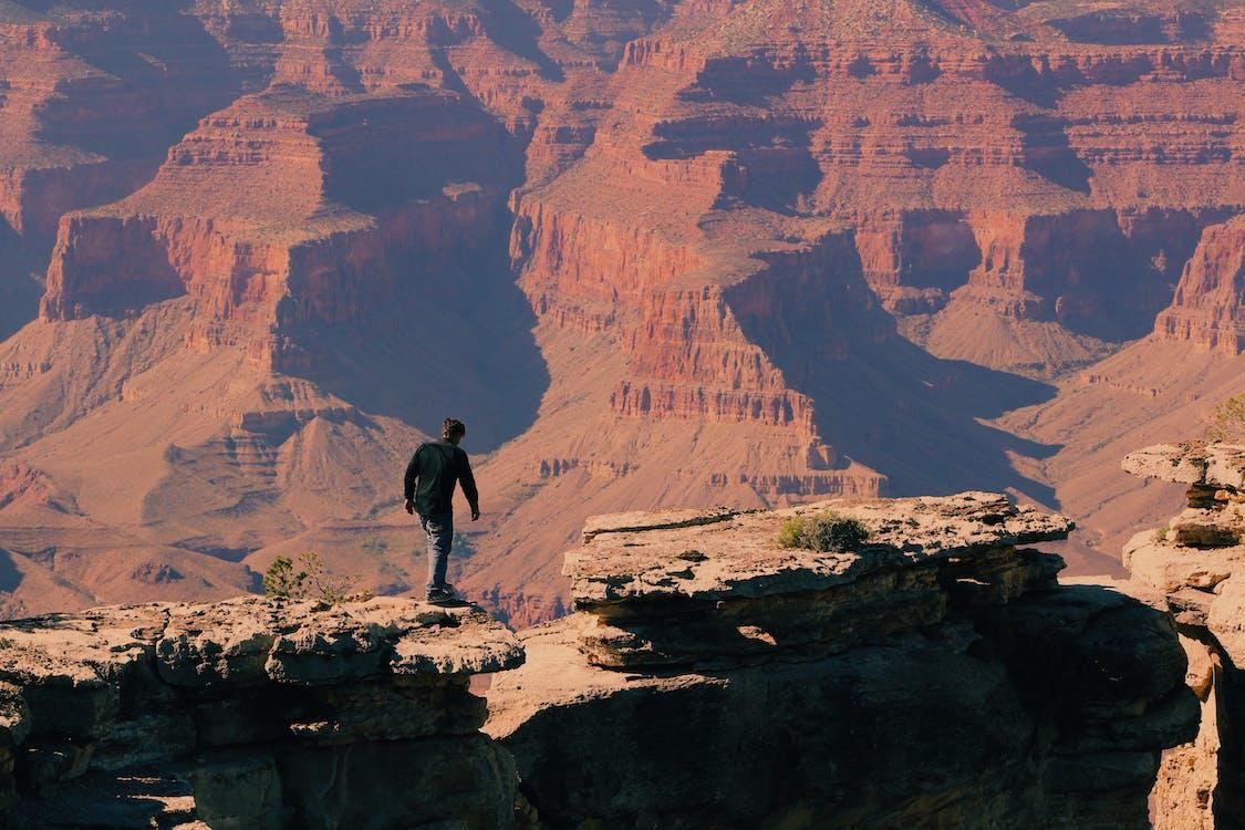 Bird's Eye-view of a Man on Grand Canyon Mountain