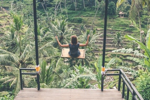 Girl Swinging Above Green Trees at Daytime